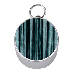 Stylish Frost Blue Strips Mini Silver Compasses by gatterwe