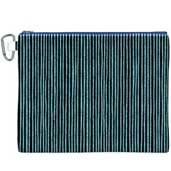 Stylish Frost Blue Strips Canvas Cosmetic Bag (xxxl) by gatterwe