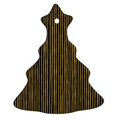 Stylish Golden Strips Christmas Tree Ornament (two Sides) by gatterwe