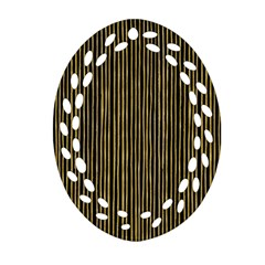 Stylish Golden Strips Oval Filigree Ornament (two Sides) by gatterwe