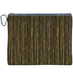 Stylish Golden Strips Canvas Cosmetic Bag (xxxl) by gatterwe