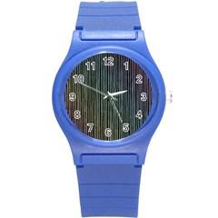 Stylish Rainbow Strips Round Plastic Sport Watch (s) by gatterwe