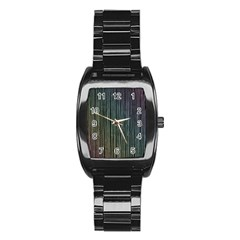 Stylish Rainbow Strips Stainless Steel Barrel Watch by gatterwe
