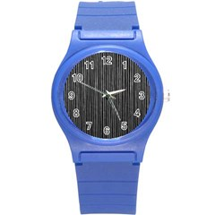 Stylish Silver Strips Round Plastic Sport Watch (s) by gatterwe