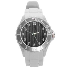 Stylish Silver Strips Round Plastic Sport Watch (l) by gatterwe