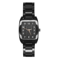 Stylish Silver Strips Stainless Steel Barrel Watch by gatterwe