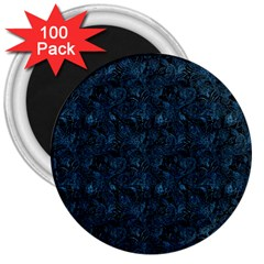 Blue Flower Glitter Look 3  Magnets (100 Pack) by gatterwe