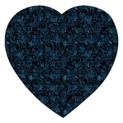 Blue Flower Glitter Look Jigsaw Puzzle (heart) by gatterwe