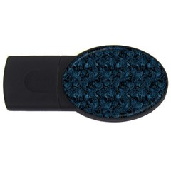 Blue Flower Glitter Look Usb Flash Drive Oval (4 Gb) by gatterwe