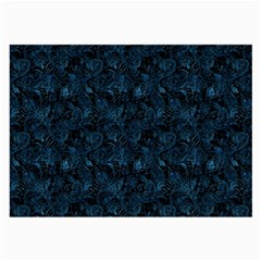 Blue Flower Glitter Look Large Glasses Cloth by gatterwe