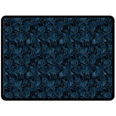 Blue Flower Glitter Look Fleece Blanket (large)  by gatterwe
