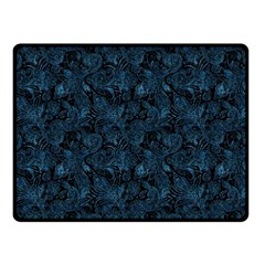 Blue Flower Glitter Look Fleece Blanket (small) by gatterwe