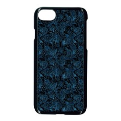 Blue Flower Glitter Look Apple Iphone 7 Seamless Case (black) by gatterwe