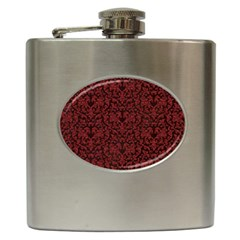 Red Glitter Look Floral Hip Flask (6 Oz) by gatterwe