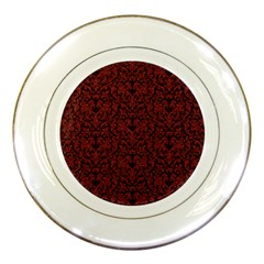 Red Glitter Look Floral Porcelain Plates by gatterwe