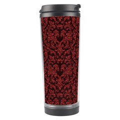 Red Glitter Look Floral Travel Tumbler by gatterwe