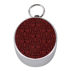 Red Glitter Look Floral Mini Silver Compasses by gatterwe
