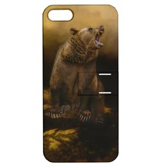 Roaring Grizzly Bear Apple Iphone 5 Hardshell Case With Stand by gatterwe