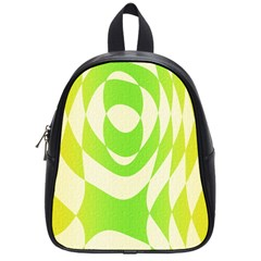 Green Shapes Canvas                              School Bag (small) by LalyLauraFLM
