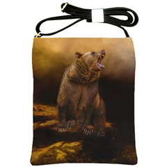 Roaring Grizzly Bear Shoulder Sling Bags by gatterwe