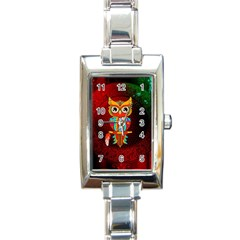 Cute Owl, Mandala Design Rectangle Italian Charm Watch by FantasyWorld7