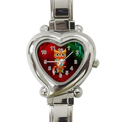 Cute Owl, Mandala Design Heart Italian Charm Watch by FantasyWorld7