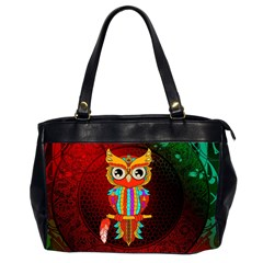 Cute Owl, Mandala Design Office Handbags (2 Sides)  by FantasyWorld7