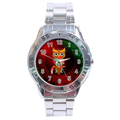 Cute Owl, Mandala Design Stainless Steel Analogue Watch by FantasyWorld7