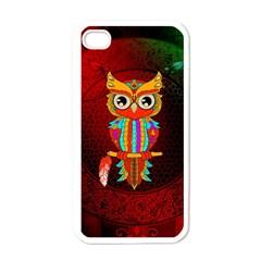 Cute Owl, Mandala Design Apple Iphone 4 Case (white) by FantasyWorld7