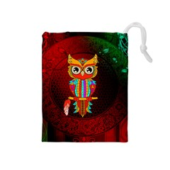 Cute Owl, Mandala Design Drawstring Pouches (medium)  by FantasyWorld7