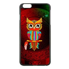 Cute Owl, Mandala Design Apple Iphone 6 Plus/6s Plus Black Enamel Case by FantasyWorld7