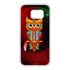 Cute Owl, Mandala Design Samsung Galaxy S7 Edge White Seamless Case by FantasyWorld7
