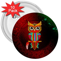 Cute Owl, Mandala Design 3  Buttons (10 Pack)  by FantasyWorld7