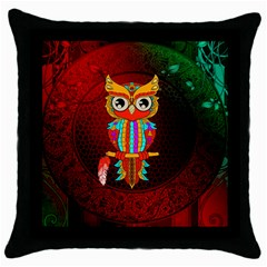 Cute Owl, Mandala Design Throw Pillow Case (black) by FantasyWorld7
