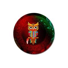 Cute Owl, Mandala Design Magnet 3  (round) by FantasyWorld7