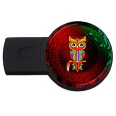 Cute Owl, Mandala Design Usb Flash Drive Round (4 Gb) by FantasyWorld7