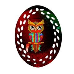 Cute Owl, Mandala Design Ornament (oval Filigree) by FantasyWorld7