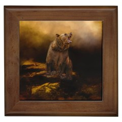 Roaring Grizzly Bear Framed Tiles by gatterwe