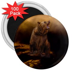 Roaring Grizzly Bear 3  Magnets (100 Pack) by gatterwe