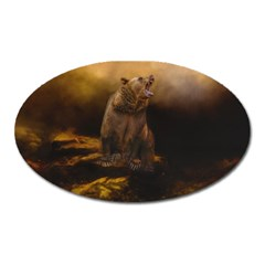 Roaring Grizzly Bear Oval Magnet