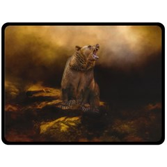 Roaring Grizzly Bear Fleece Blanket (large)  by gatterwe