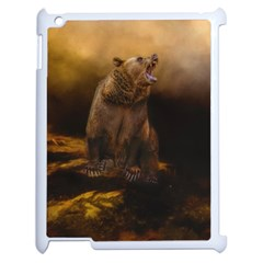 Roaring Grizzly Bear Apple Ipad 2 Case (white) by gatterwe