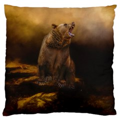 Roaring Grizzly Bear Large Flano Cushion Case (two Sides) by gatterwe