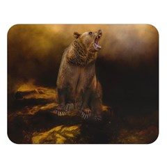 Roaring Grizzly Bear Double Sided Flano Blanket (large)  by gatterwe