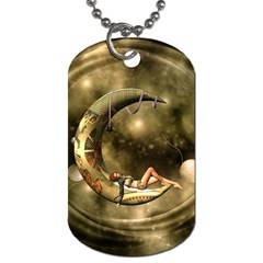 Steampunk Lady  In The Night With Moons Dog Tag (one Side) by FantasyWorld7