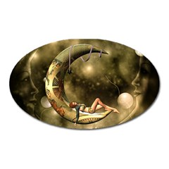 Steampunk Lady  In The Night With Moons Oval Magnet by FantasyWorld7