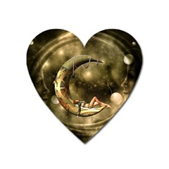 Steampunk Lady  In The Night With Moons Heart Magnet by FantasyWorld7