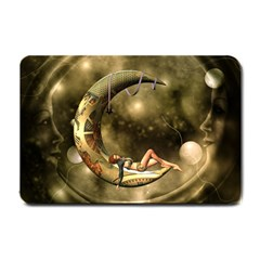 Steampunk Lady  In The Night With Moons Small Doormat  by FantasyWorld7