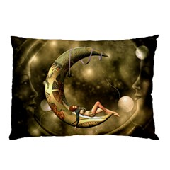 Steampunk Lady  In The Night With Moons Pillow Case (two Sides) by FantasyWorld7