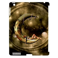 Steampunk Lady  In The Night With Moons Apple Ipad 3/4 Hardshell Case (compatible With Smart Cover) by FantasyWorld7